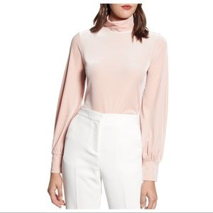 NEW Halogen Pink Blouson Sleeve Velour Top
